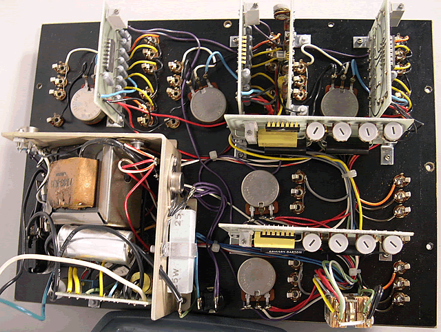 Overhead of the underside of the main patch board.