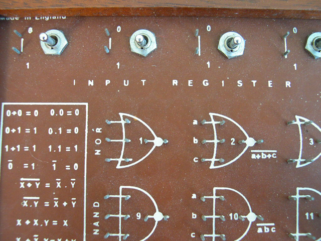 Close up of Input Register switches in upper left corner.