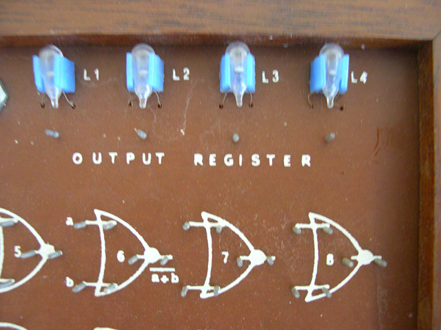 Close up of Output Register lights in upper right corner.