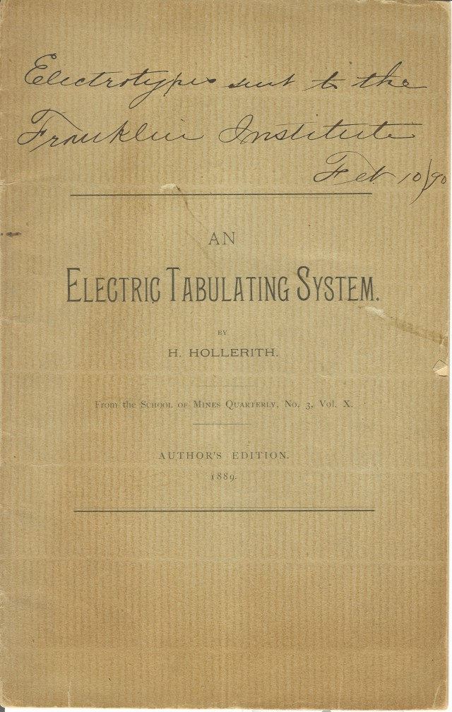 image of Front cover of the author's edition of the <i>Electric Tabulating System</i>