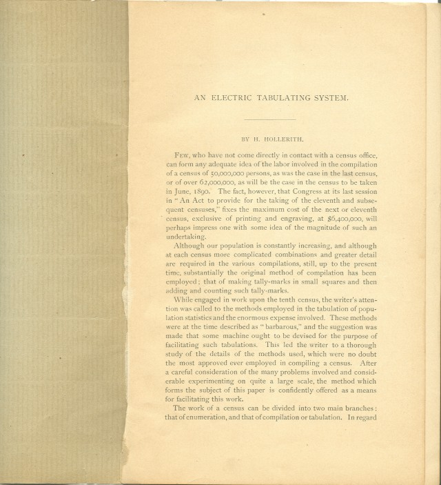 image of page 1 of the author's edition of the <i>Electric Tabulating System</i>