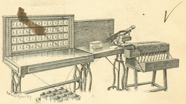 image of A drawing of he entire System with the tabulator, card reader & sorter as shown in the author's edition of the <i>Electric Tabulating System</i>