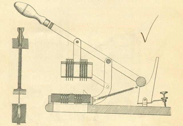 image of A schematic drawing of the card reader as shown in the author's edition of the <i>Electric Tabulating System</i>.  Pulling down on the handle would allow the pins to drop through any holes in the card.  The   drawing on the left shows a pin dropping.