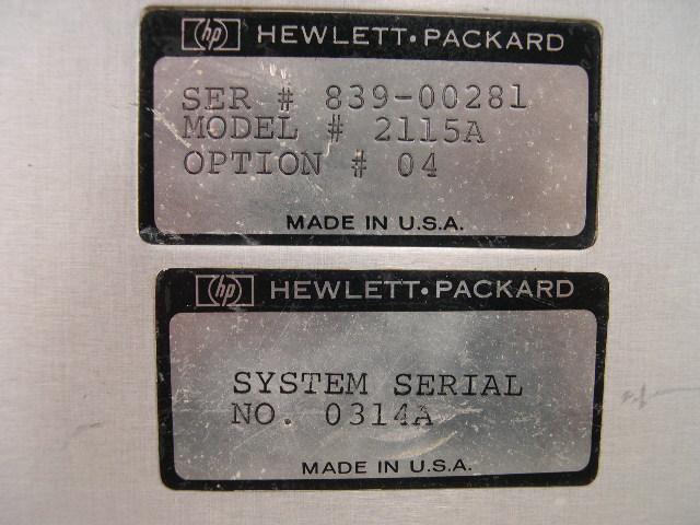 Serial number plates.