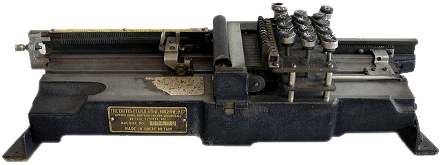 front view of the British Tabulating Machine Company Type 001 mechanical keypunch (card punch). This rare keypunch was an important part of computer history.