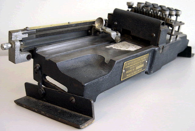 Front view of the British Tabulating Machine Company Type 001 mechanical keypunch (card punch); notice the angle of the keypunch.  This would allow a more comfortable hand position for the keypunch operator. This keypunch was an important part of computer history.
