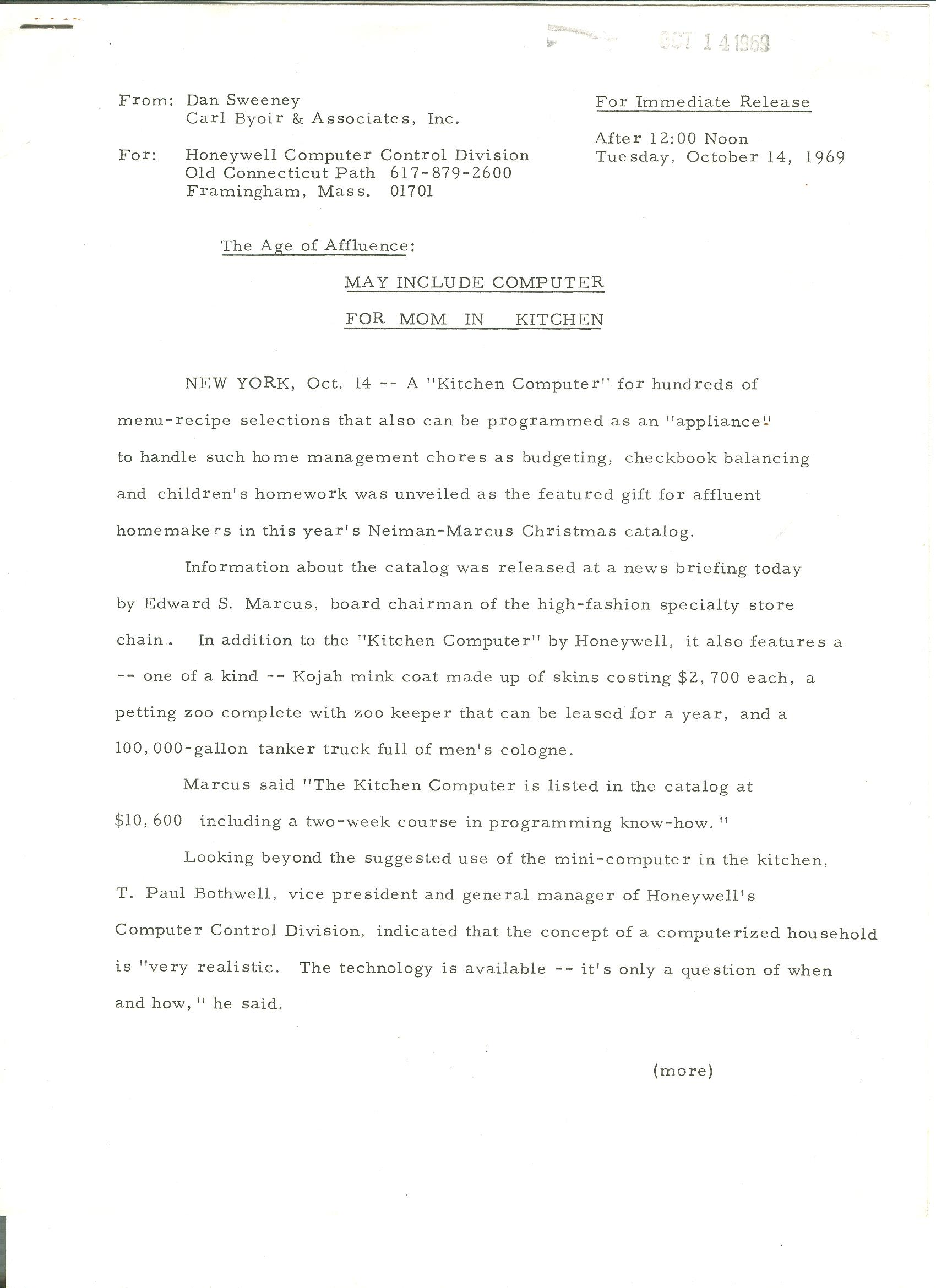 Press release for the Kitchen Computer (Honeywell 316)