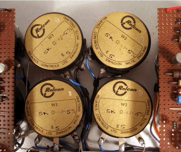 Closeup of a set of four Relcon 5000 ohm resistors