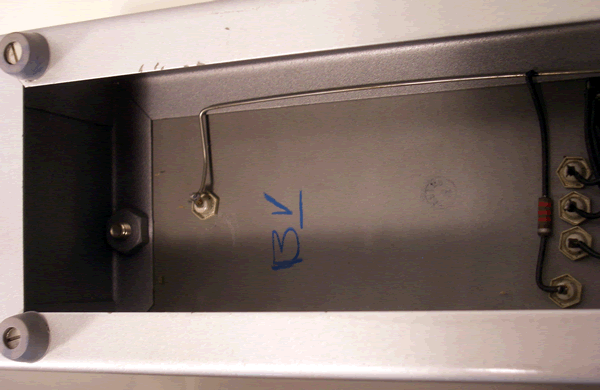 A marking underneath the relay control unit.