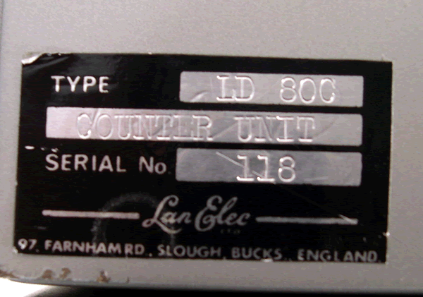 Serial for the counter unit.