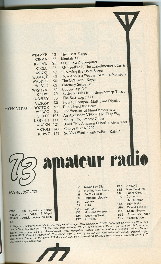 Table of Contents for 1975 August issue.