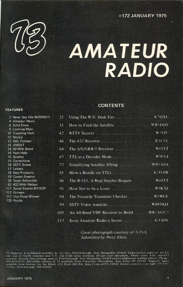 Table of Contents for the January 1975 issue.