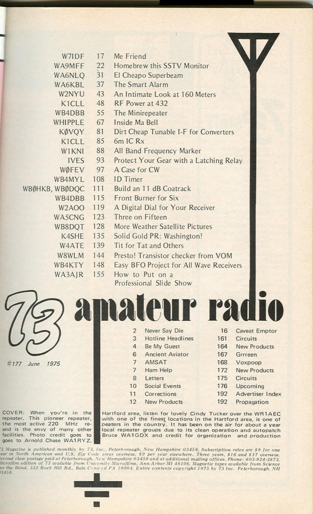 Table of Contents for June 1975 issue.