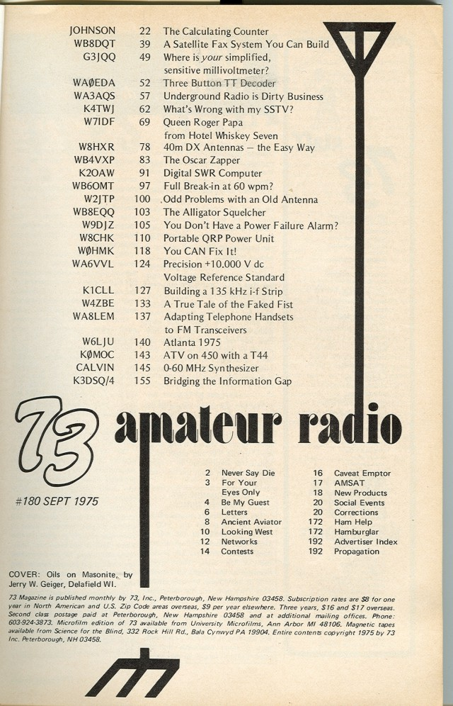 Table of Contents for September 1975 issue.