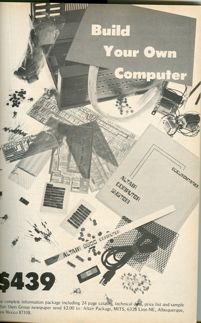 Full page ad for the Altair 8800 computer.