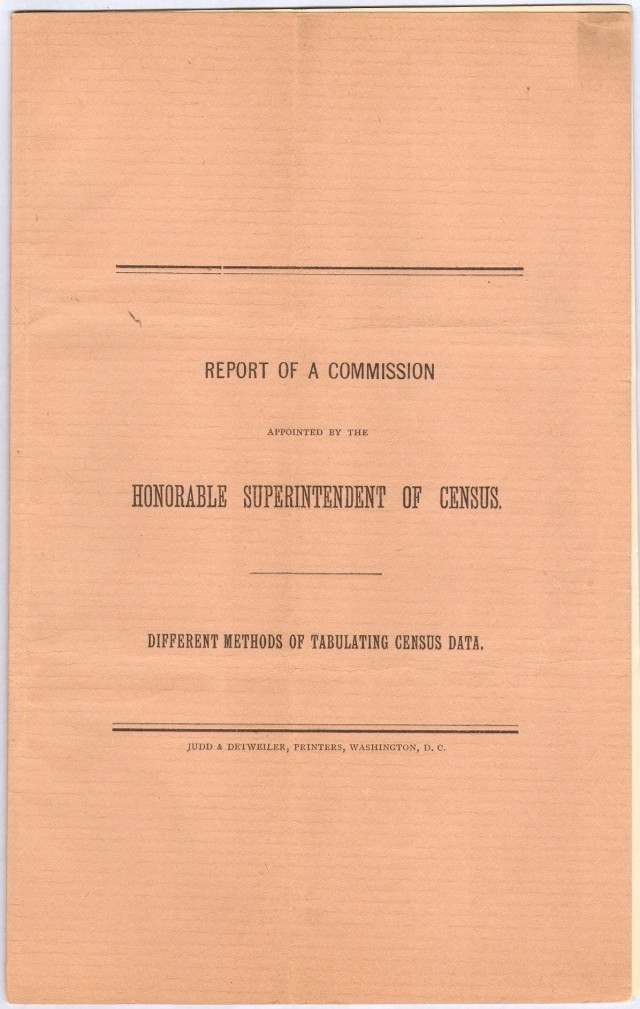 Cover of the Report to the Superintendent of the Census.