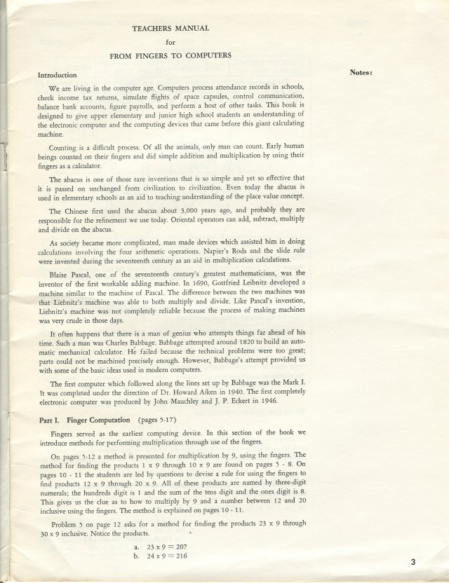 First page of the teacher's manual.