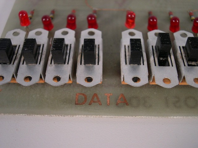 Closeup of DATA switches; bottom left corner.