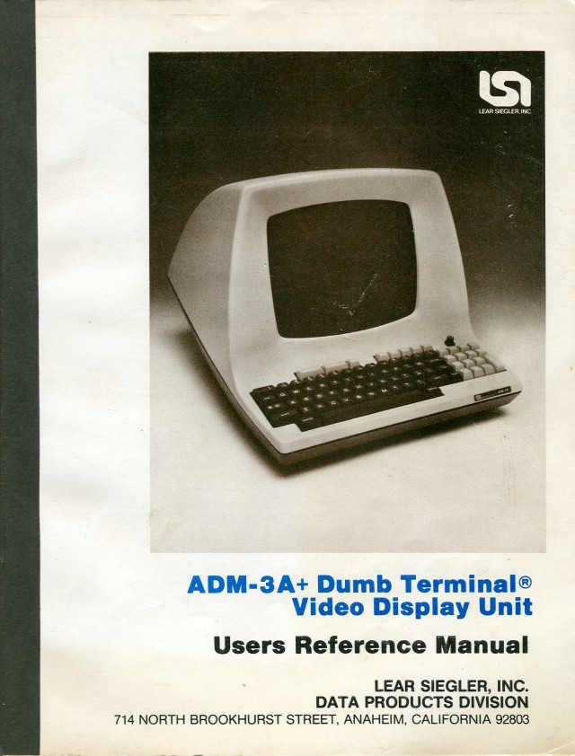 Cover of the ADM-3A+ Dumb Terminal User Manual.