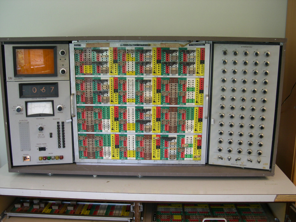 image of Computer is powered up and with patchboard in place