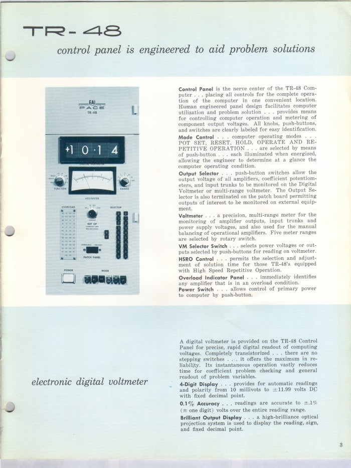image of Explanation of Control Panel (p. 3 of brochure)